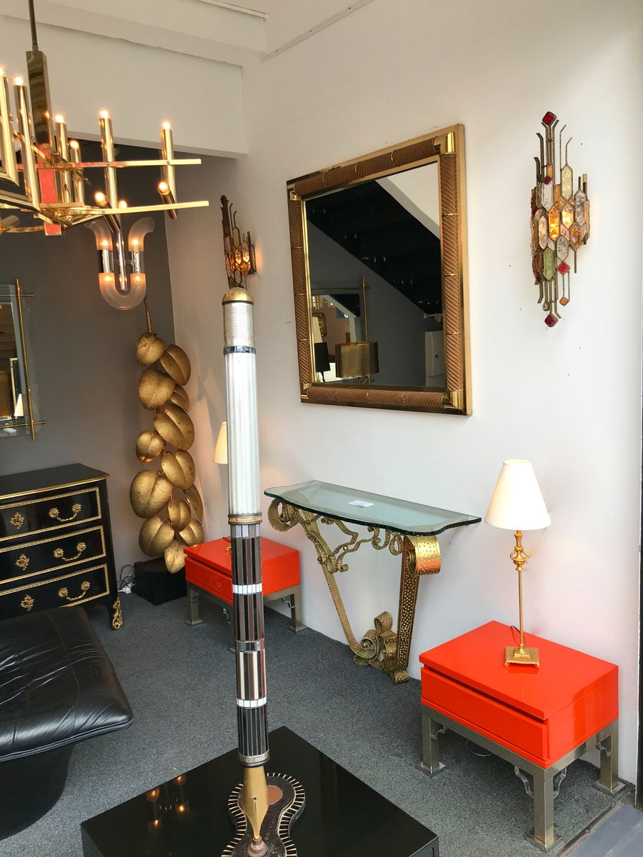 franz sischer spiegel aus messing holz von galerie maison et jardin 1970er bei pamono kaufen. Black Bedroom Furniture Sets. Home Design Ideas