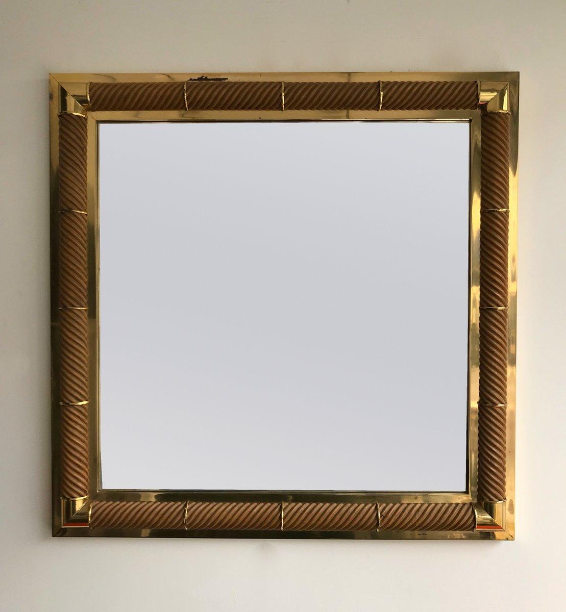 Französischer Spiegel aus Messing & Holz von Galerie Maison et ...
