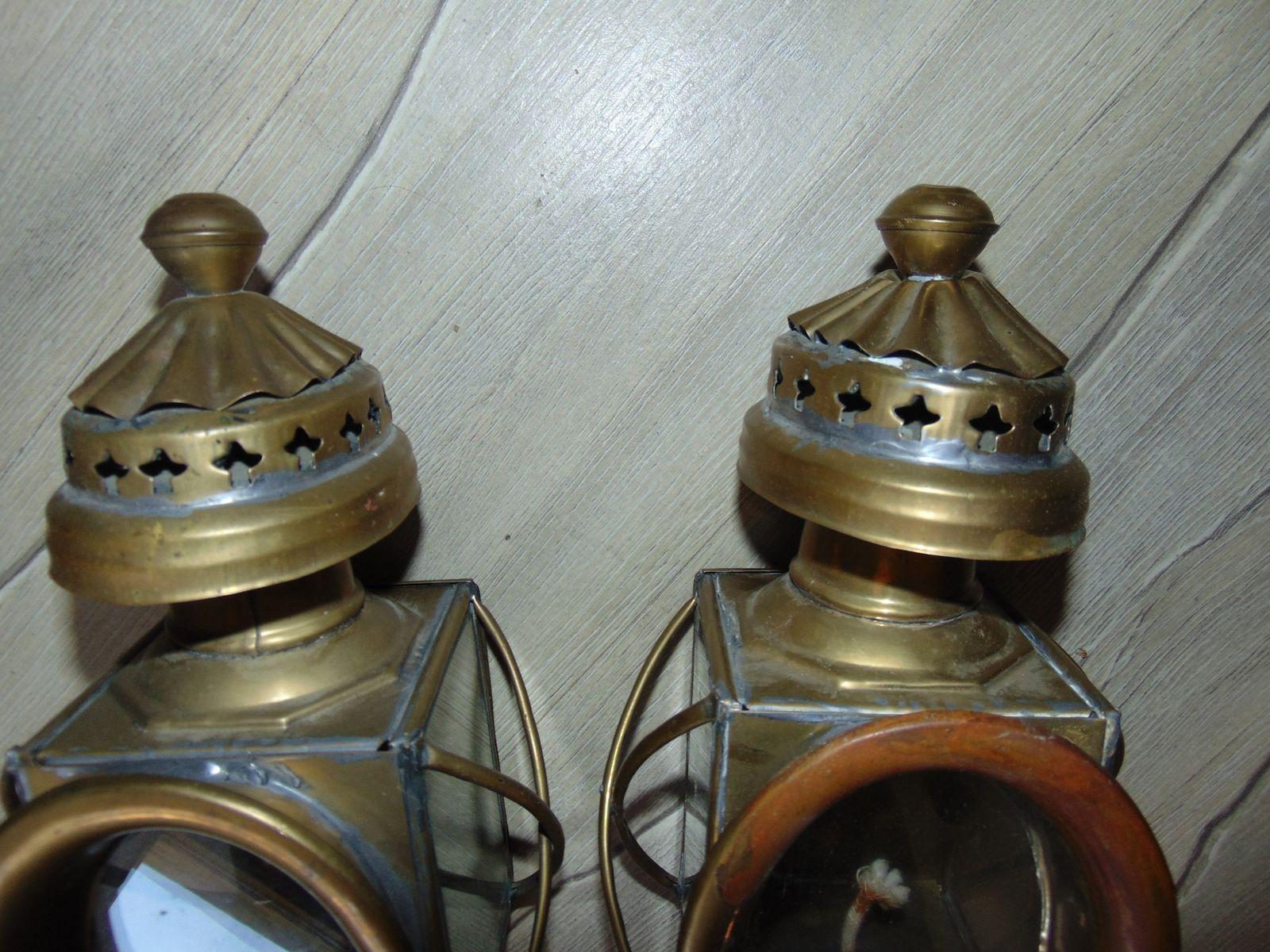 Lampade ad olio antiche in ottone set di in vendita su pamono