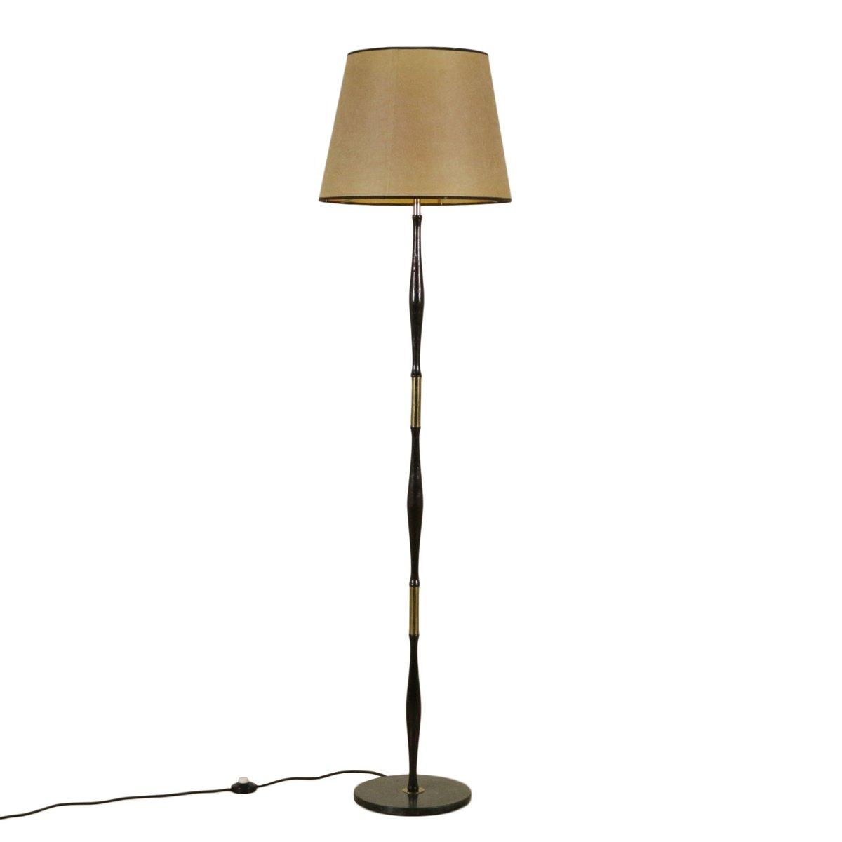 Stehlampe aus gebeiztem Ebenholz, Marmor und Messing, 1950er