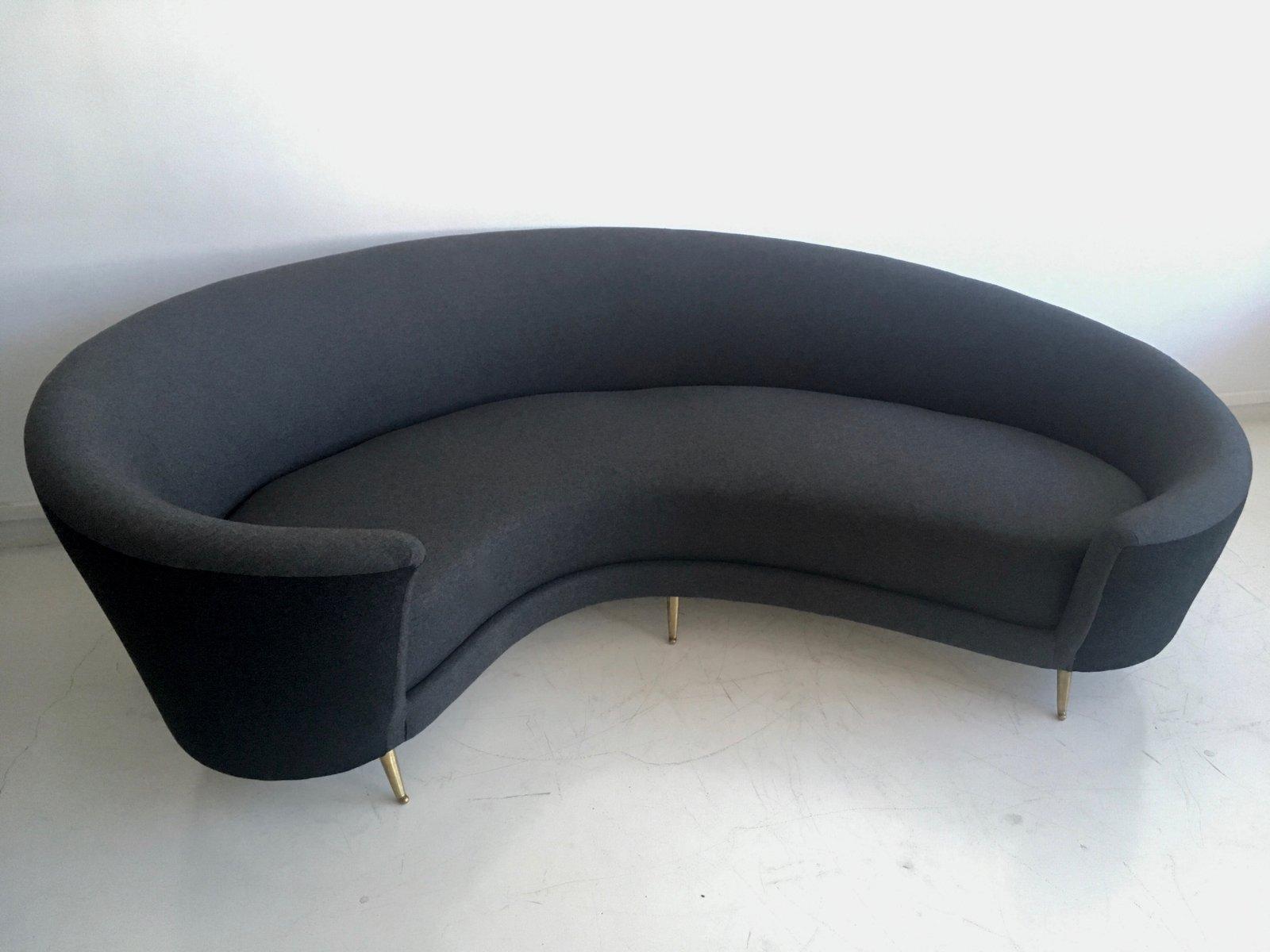 Vintage Italian Grey Curved Sofa