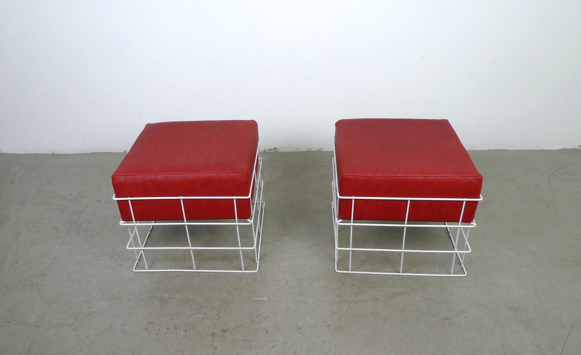Sgabelli in cavo metallico con cuscini rossi anni 60 set di 2 in
