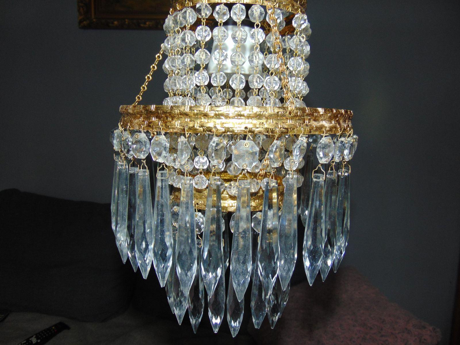 Lampe suspension en cristal de jablonec vintage en vente - Suspension en cristal ...
