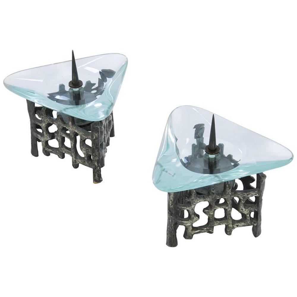 Kerzenständer aus Bronze & Glas von Fontana Arte, 1960er, 2er Set