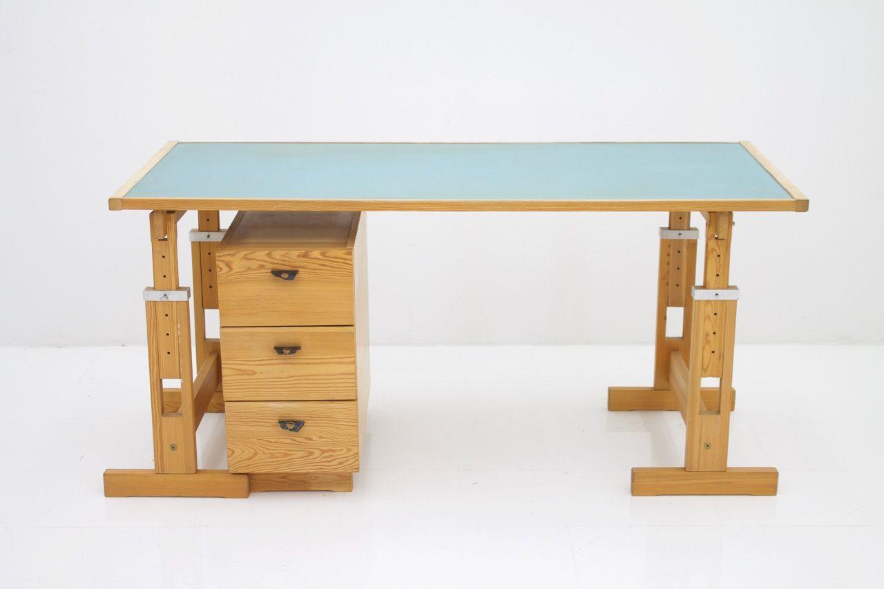Verstellbarer kiefernholz schreibtisch von asko 1970er bei pamono kaufen - Schreibtisch kiefernholz ...