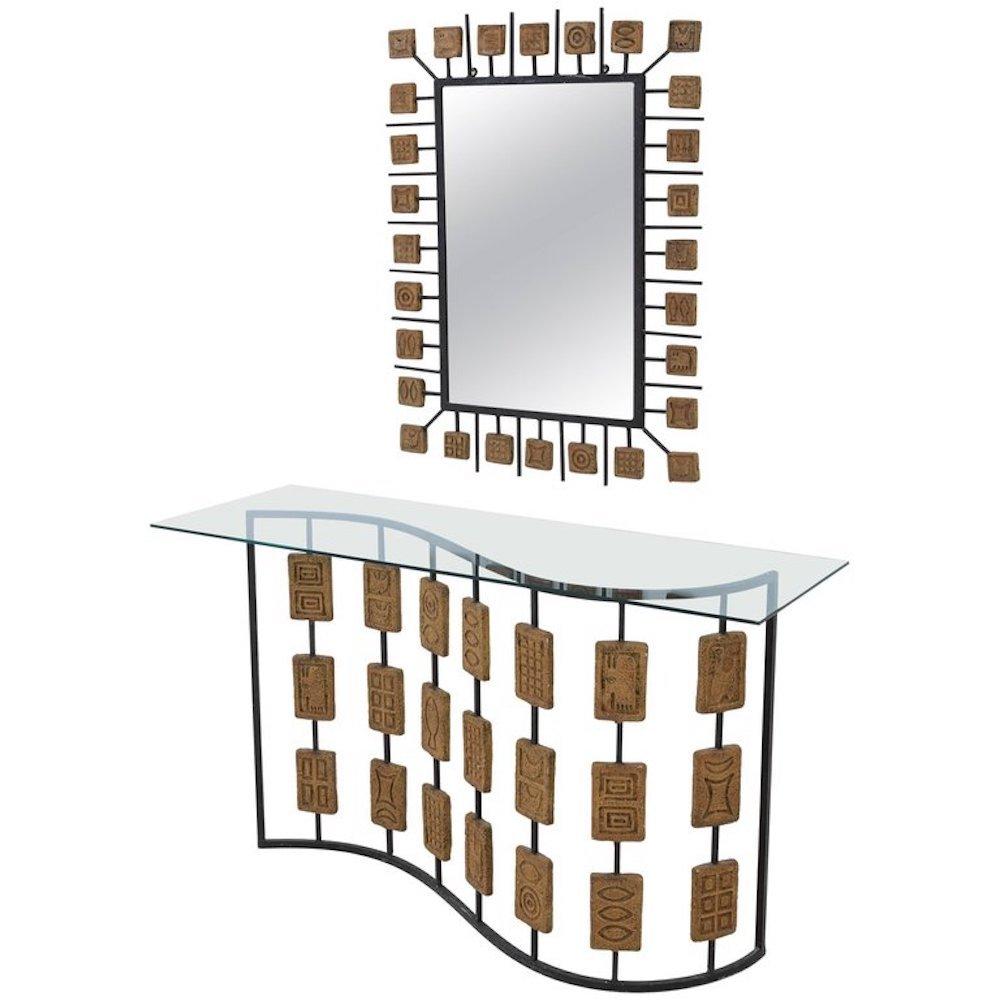 Lackierter vintage metall terrakotta konsolentisch mit spiegel bei pamono kaufen - Konsolentisch mit spiegel ...