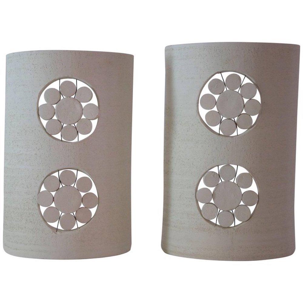 Keramik Wandlampen von Georges Pelletier, 1970er, 2er Set