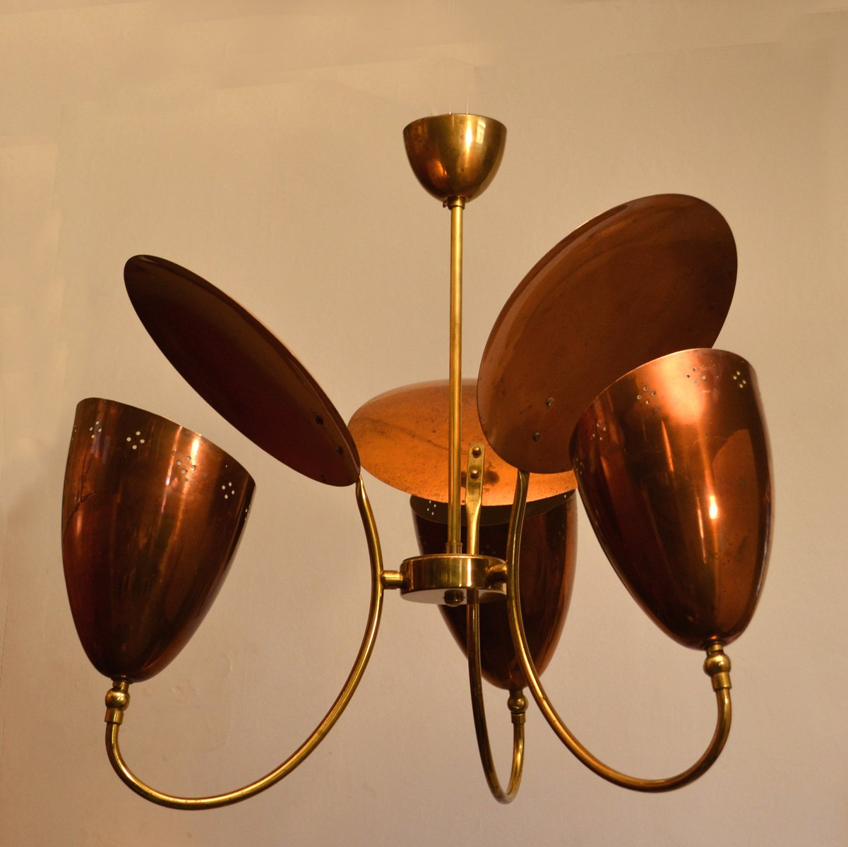 3 arm chandelier with reflector in perforated copper brass 1950s 3 arm chandelier with reflector in perforated copper brass 1950s aloadofball Image collections