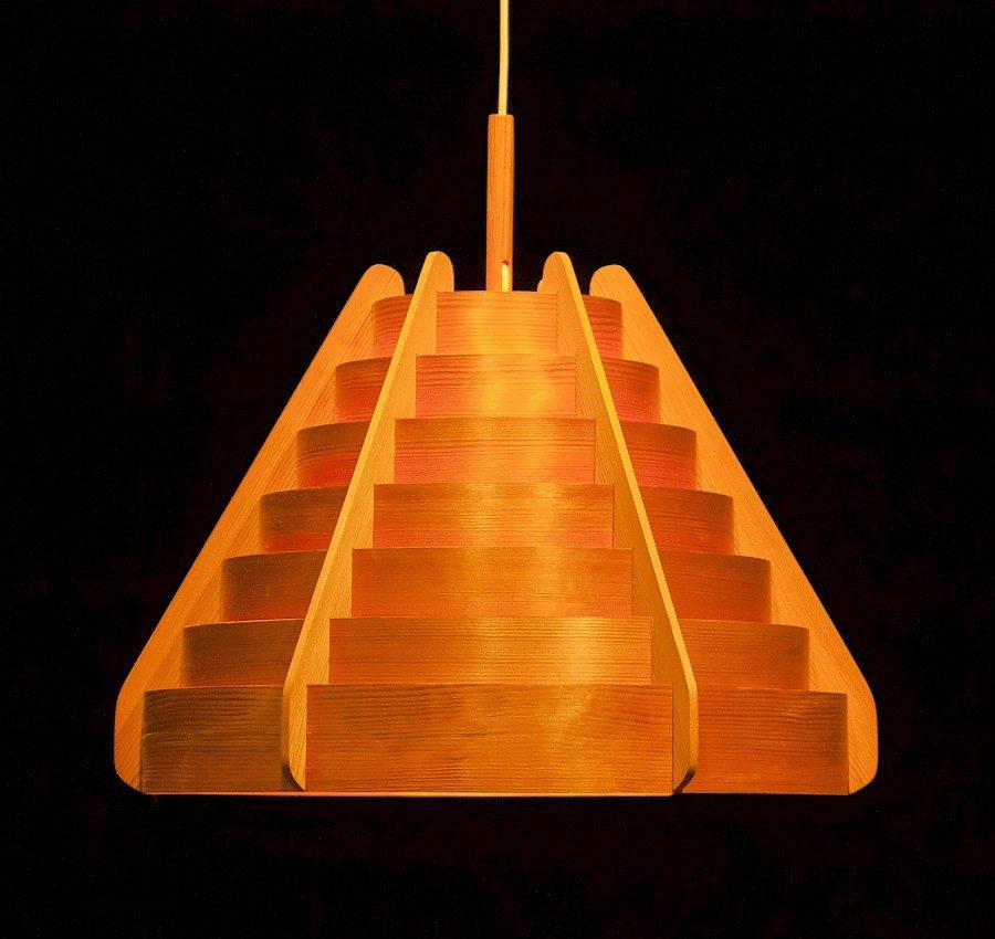 Holz Hängelampe von Hans-Agne Jakobsson für Ellysett, 1960er