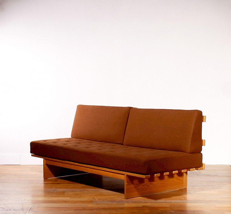 Sofa oder Tagesbett aus Eichenholz & brauner Wolle von Bra Bohag für D...
