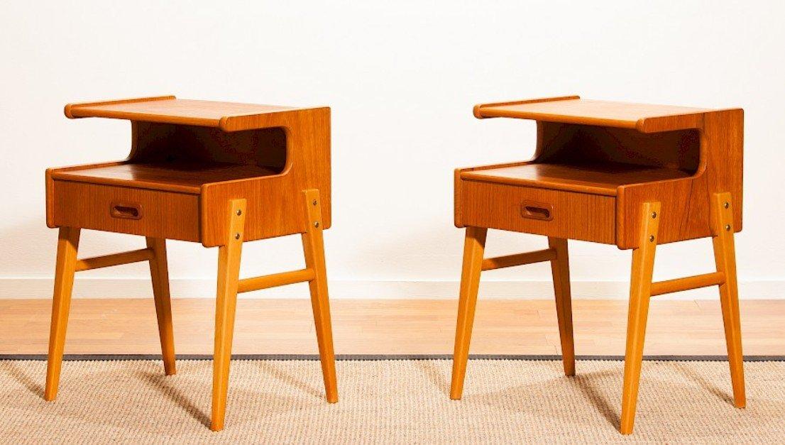 Schwedische Vintage Teak Nachttische, 2er Set