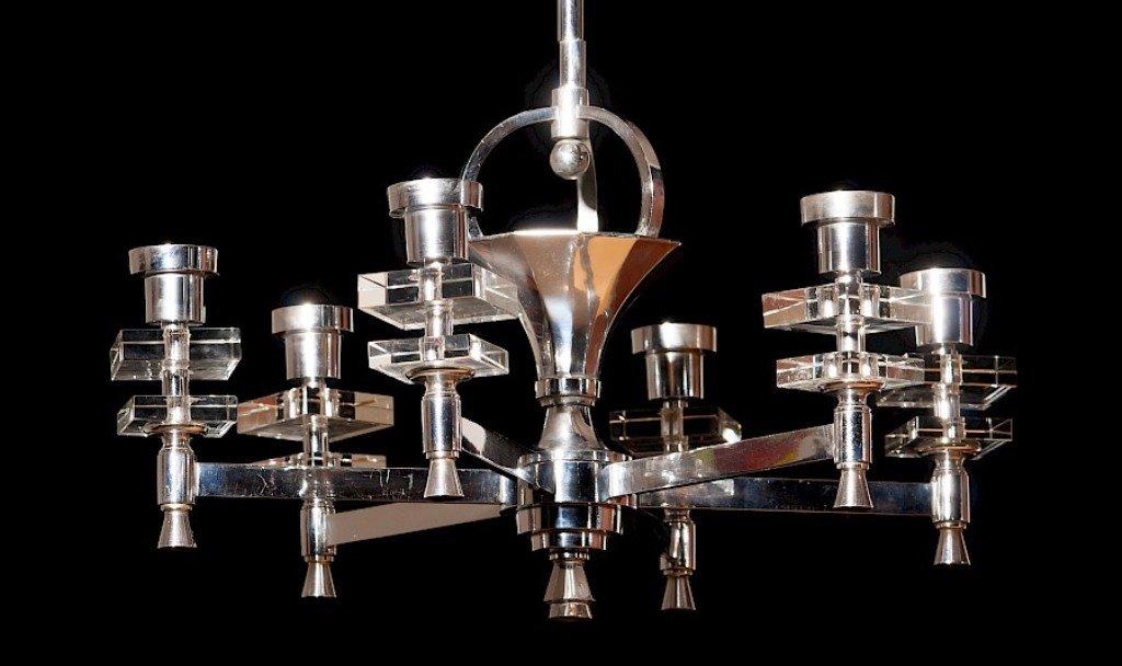 Lampadario Bianco E Cristallo : Lampadario in acciaio e cristallo francia anni 40 in vendita su