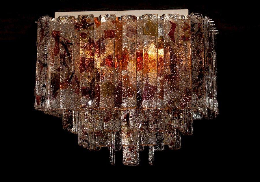 Quadratische italienische Mid-Century Deckenlampe von Mazzega