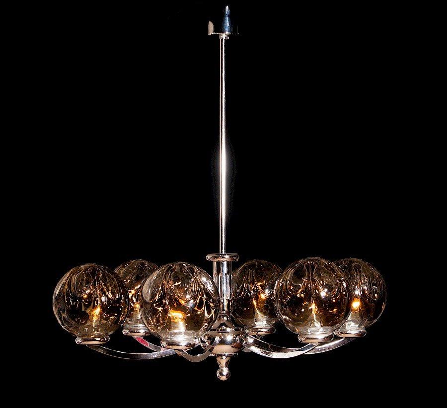 Vintage Kronleuchter aus transparentem & getöntem Kristallglas mit ver...