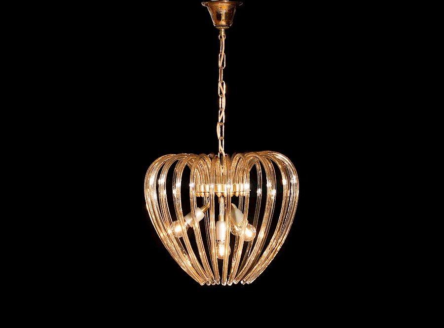 Vergoldeter Kristallglas & Messing Kronleuchter von Venini, 1960er