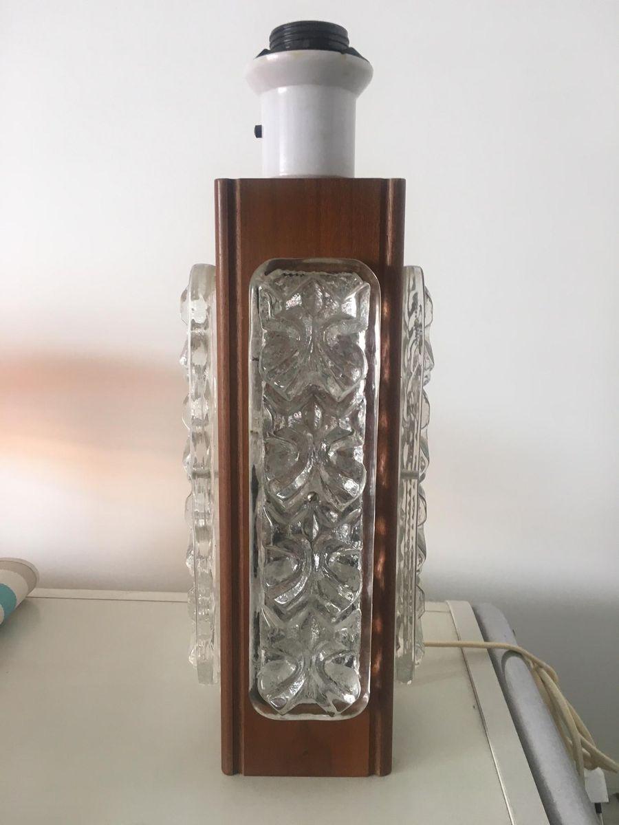 Teak & Glas Lampen, 1960er, 2er Set
