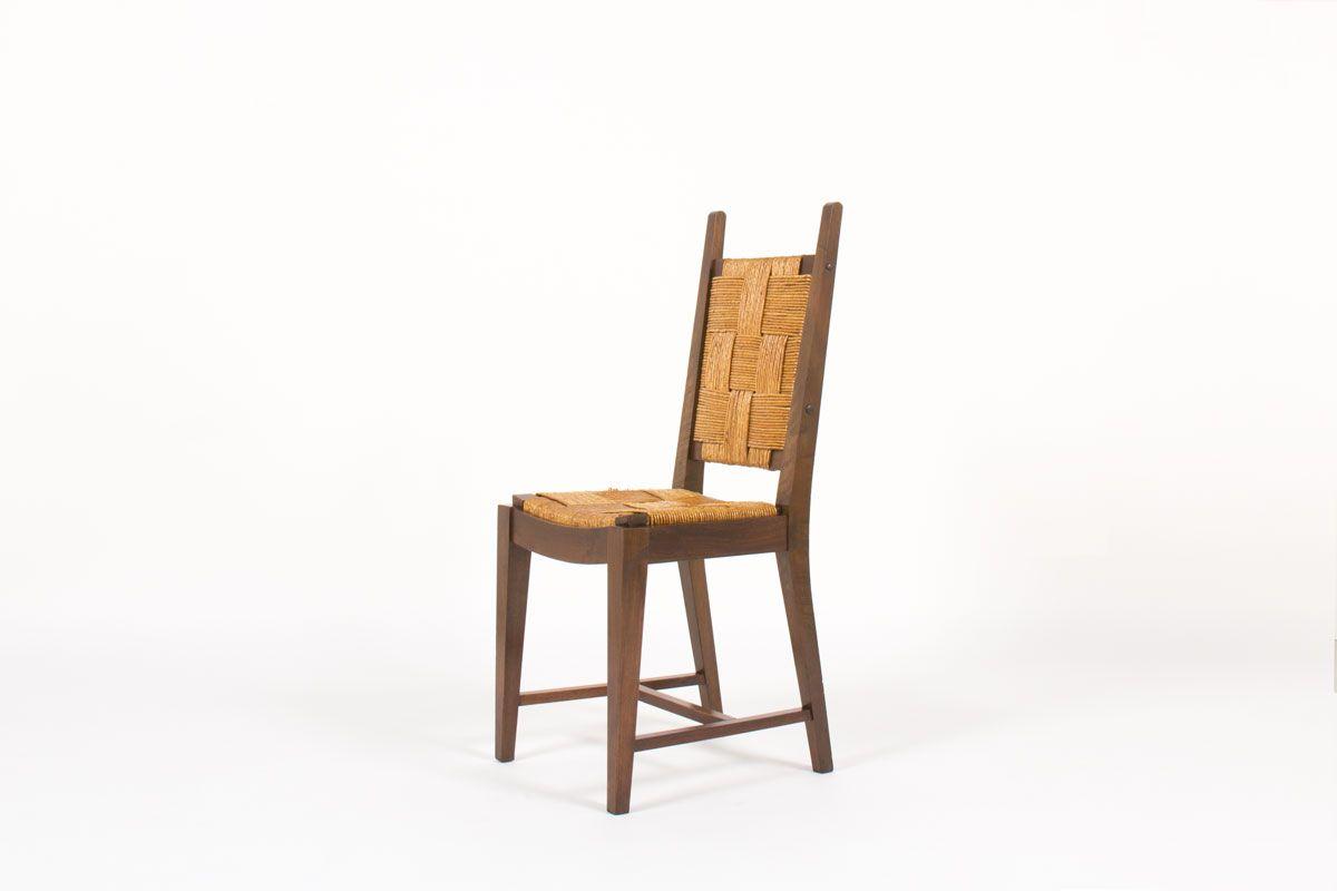nussholz stroh st hle 1950er 6er set bei pamono kaufen. Black Bedroom Furniture Sets. Home Design Ideas