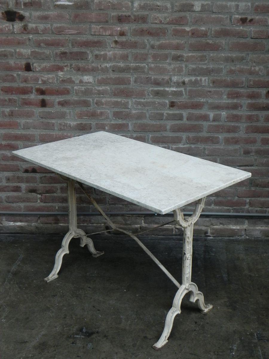 Gartentisch Mit Marmor Platte Und Sockel Aus Gusseisen 1930er Bei