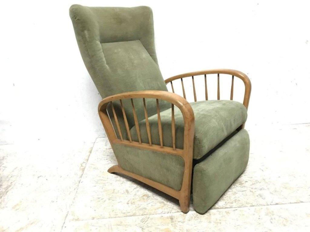 Banc Vintage Fauteuil Inclinable En Tissu Vert En Vente Sur Pamono