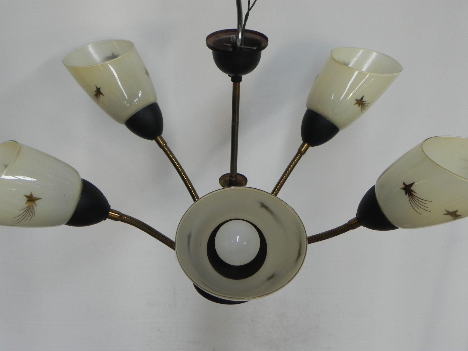 Vintage Hangelampe Mit 5 Glas Leuchten An Beweglichen Armen Bei