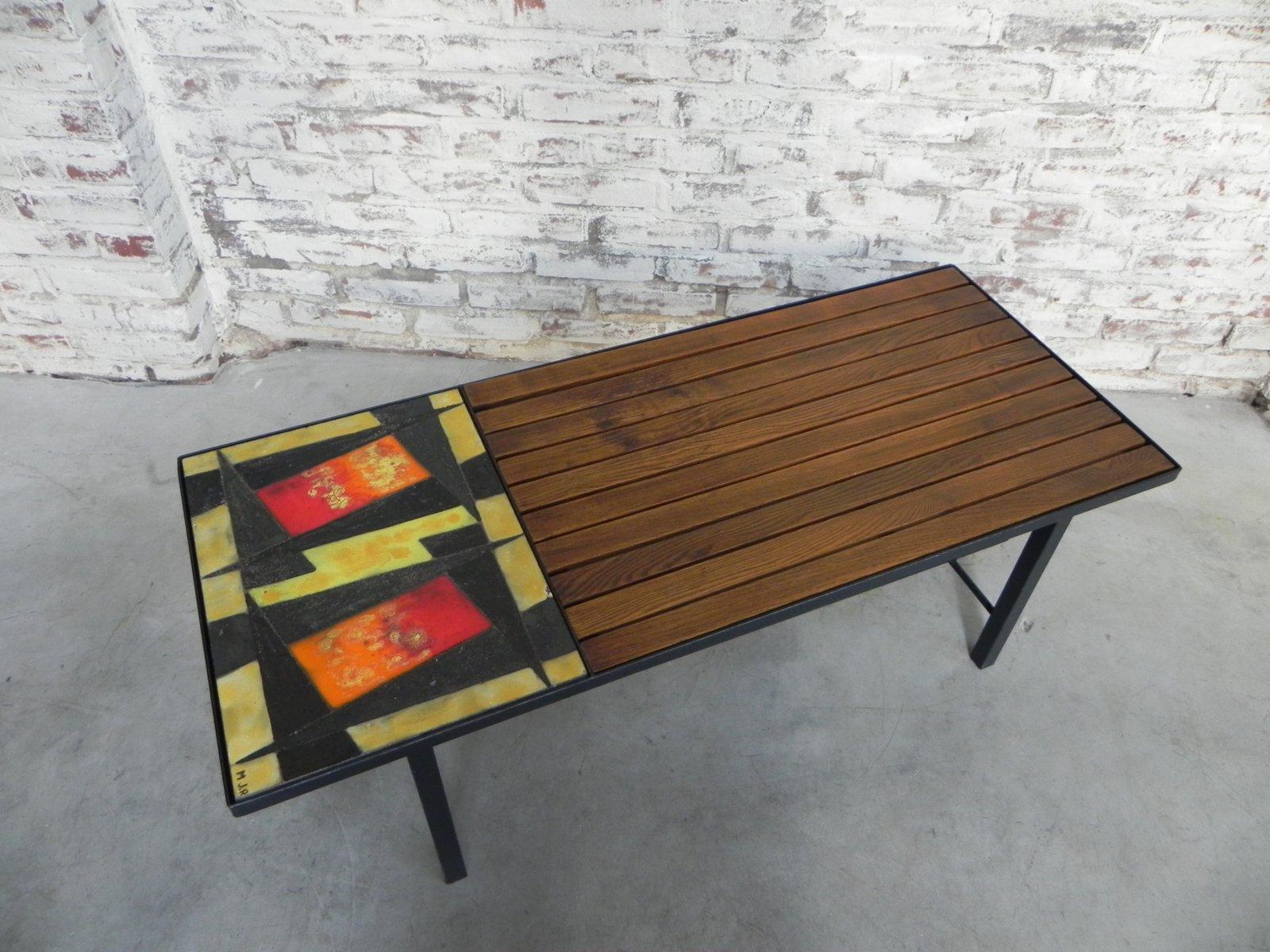 Tavolino da caffè vintage in legno con piastrelle in vendita su pamono