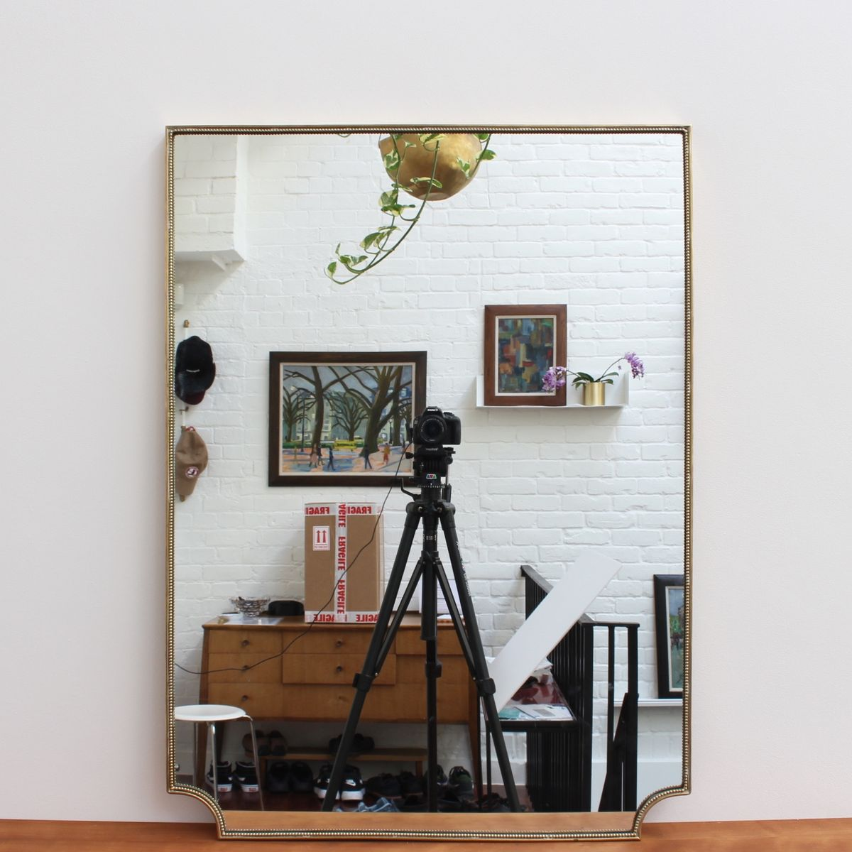 Mid-Century Italian Wall Mirror with Brass Frame, 1950s for sale at ...