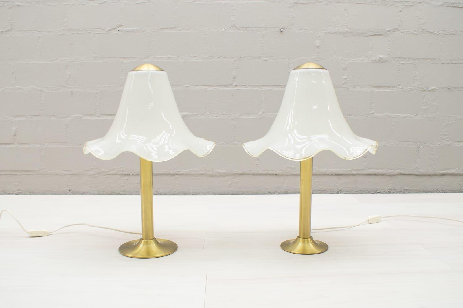 Glas Tischlampen von Doria, 1960er, 2er Set