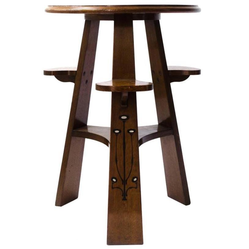 Antiker Domino Spieltisch aus Eichenholz & Ebenholz mit Zinn Intarsien... | Kinderzimmer > Kindertische > Spieltische