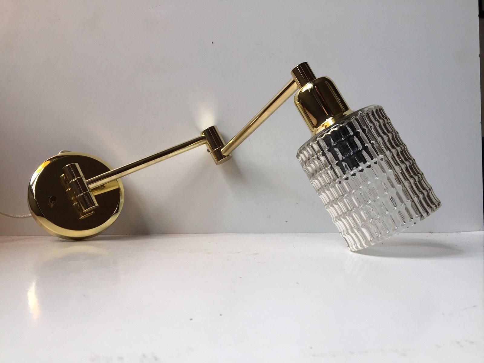 Dänische Vintage Anglepoise Wandlampe aus Messing & Glas von ABO, 1980...