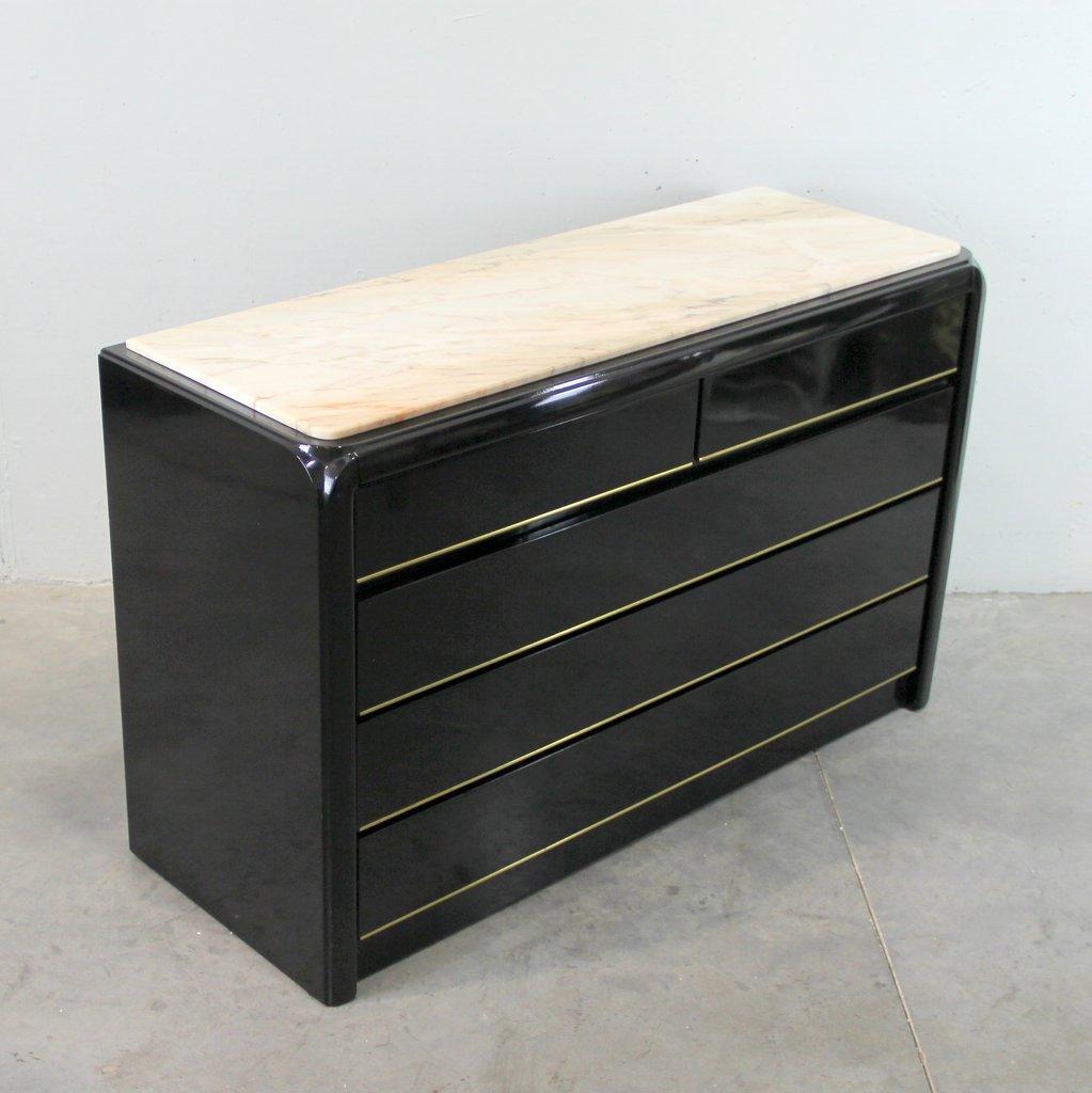 schwarze kommode mit marmorplatte 1970er bei pamono kaufen. Black Bedroom Furniture Sets. Home Design Ideas