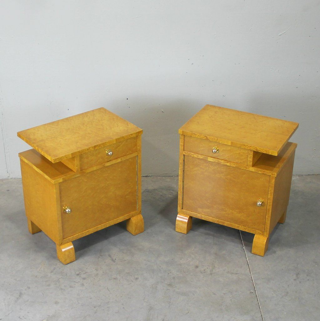 french nightstands 1930s set of 2 for sale at pamono. Black Bedroom Furniture Sets. Home Design Ideas
