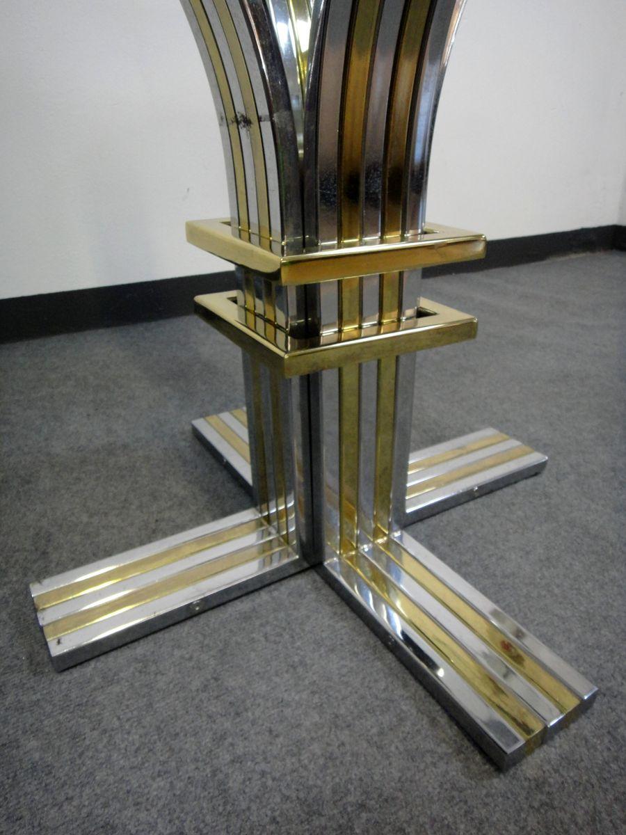 runder esstisch aus verchromten metall messing glas von romeo rega 1970er bei pamono kaufen. Black Bedroom Furniture Sets. Home Design Ideas