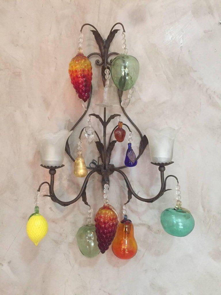 Italienische Vintage Murano Glas Wandlampen mit Früchten, 2er Set