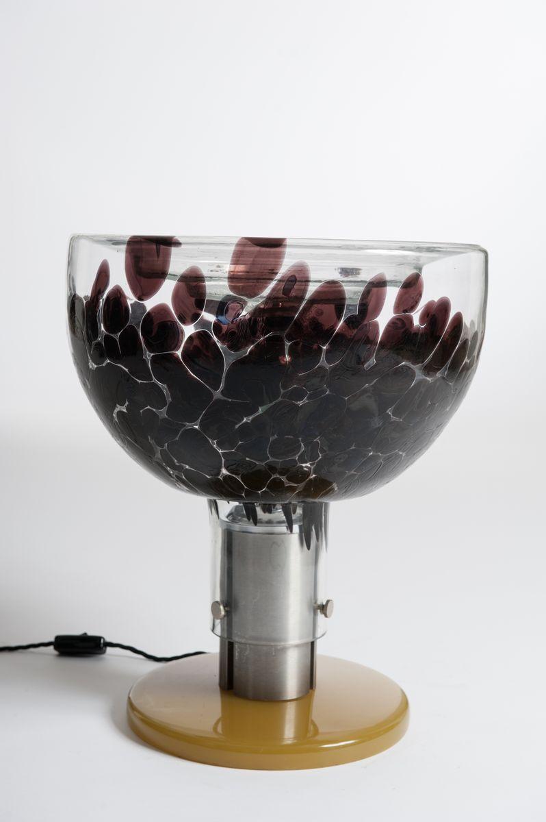 Italienische Murano Glas, Aluminium & Bakelit Tischlampe, 1970er