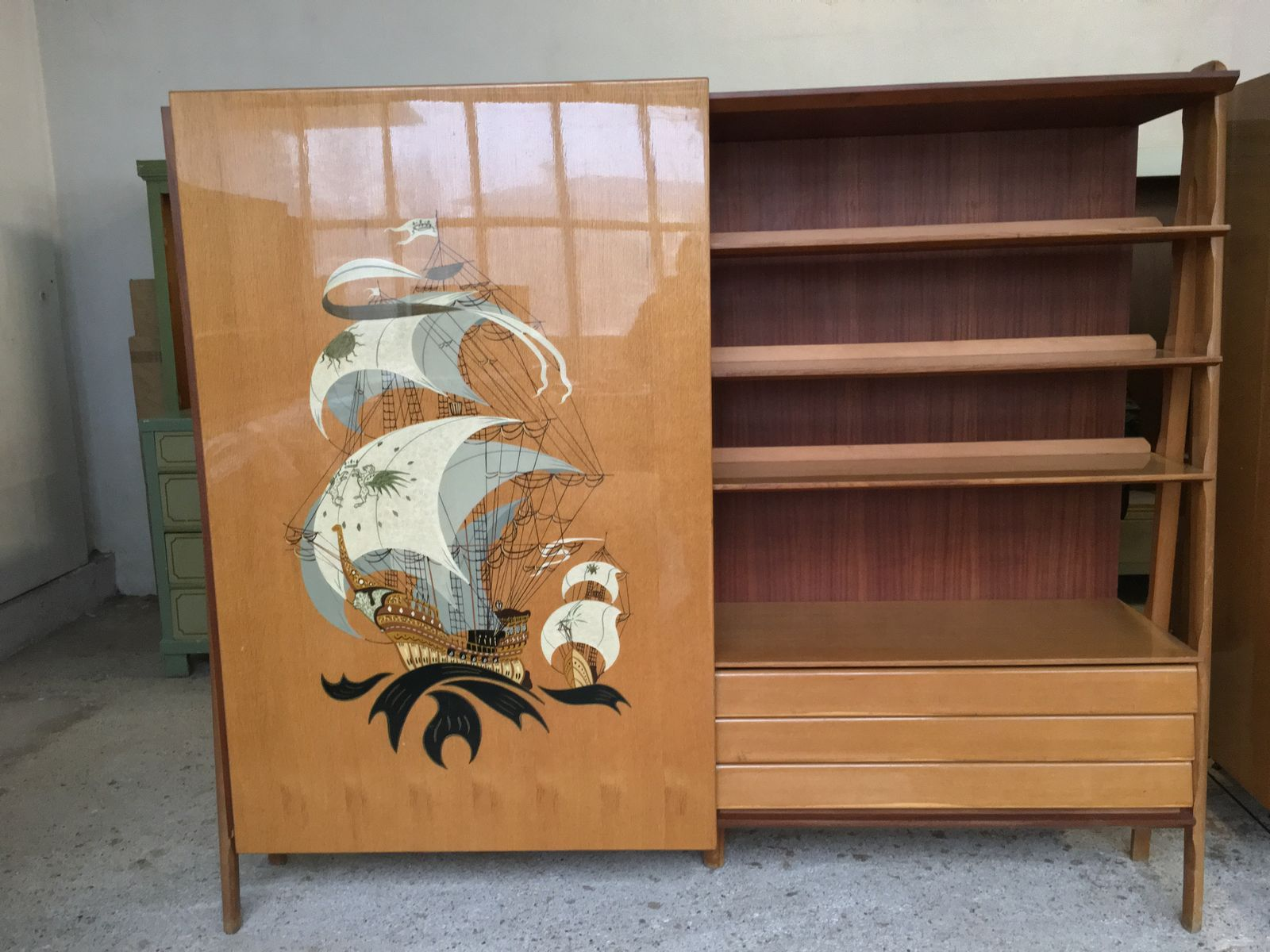Vintage Ship Lacquer Painted Wardrobe With Sliding Doors 1950s For