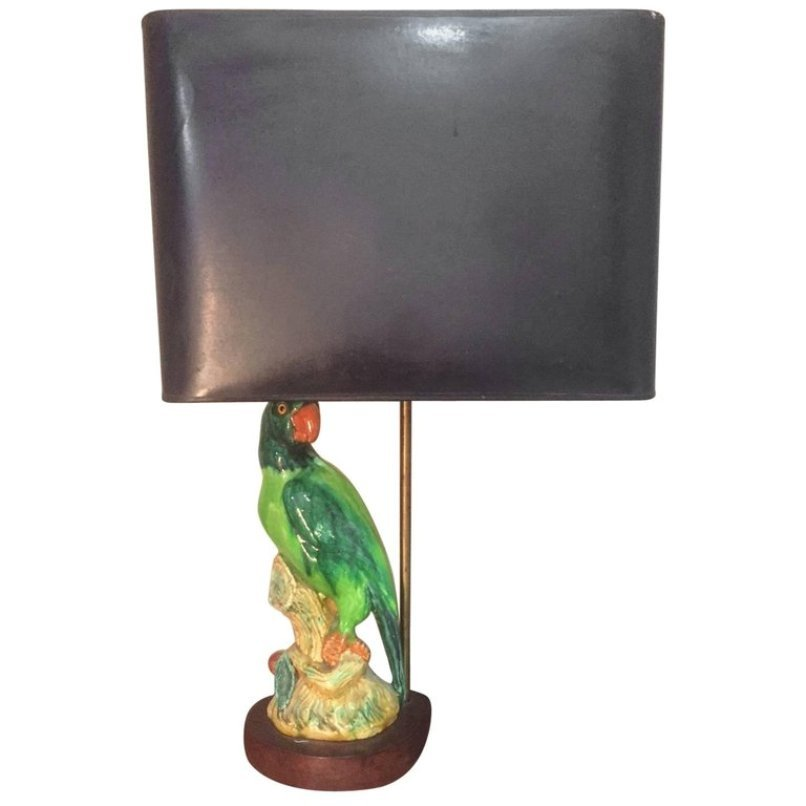 French Parrot Ceramic Table Lamp, 1960s