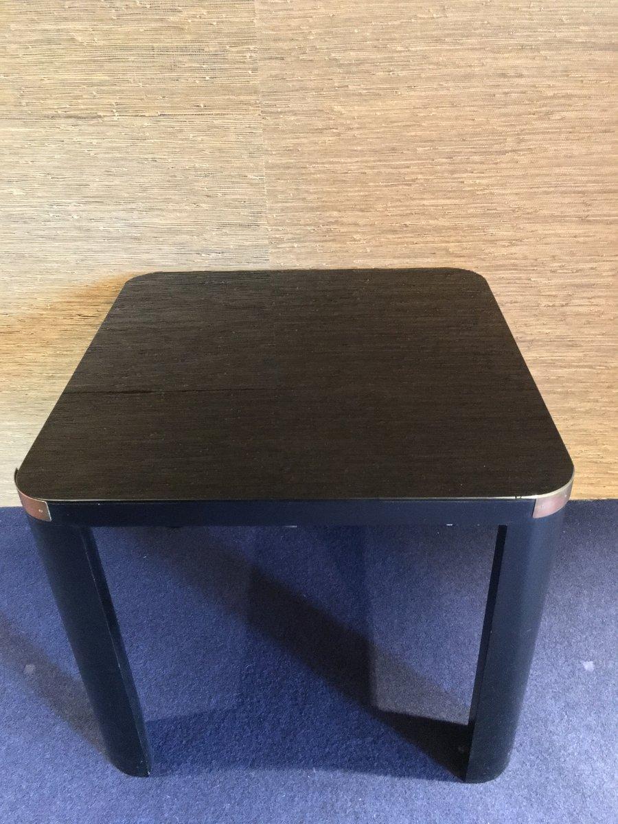 Table Basse Art Deco En Bois Noir Et Verre Italie 1940s En Vente