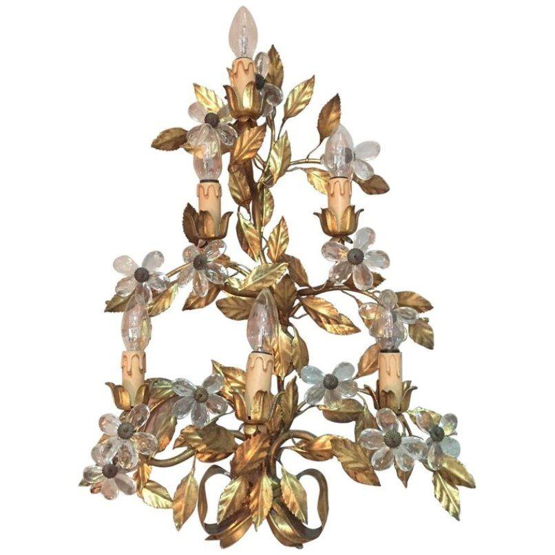Italienische vergoldete Vintage Metall Wandlampe