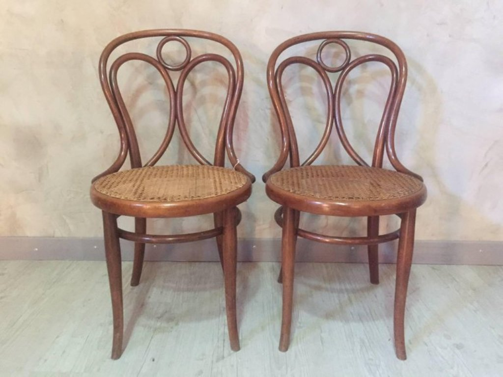 Antique Cane Dining Chairs from Thonet, 1900s, Set of 2 - Antique Cane Dining Chairs From Thonet, 1900s, Set Of 2 For Sale At