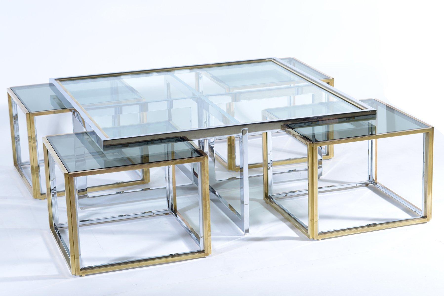 italienischer messing glas couchtisch mit satztischen. Black Bedroom Furniture Sets. Home Design Ideas