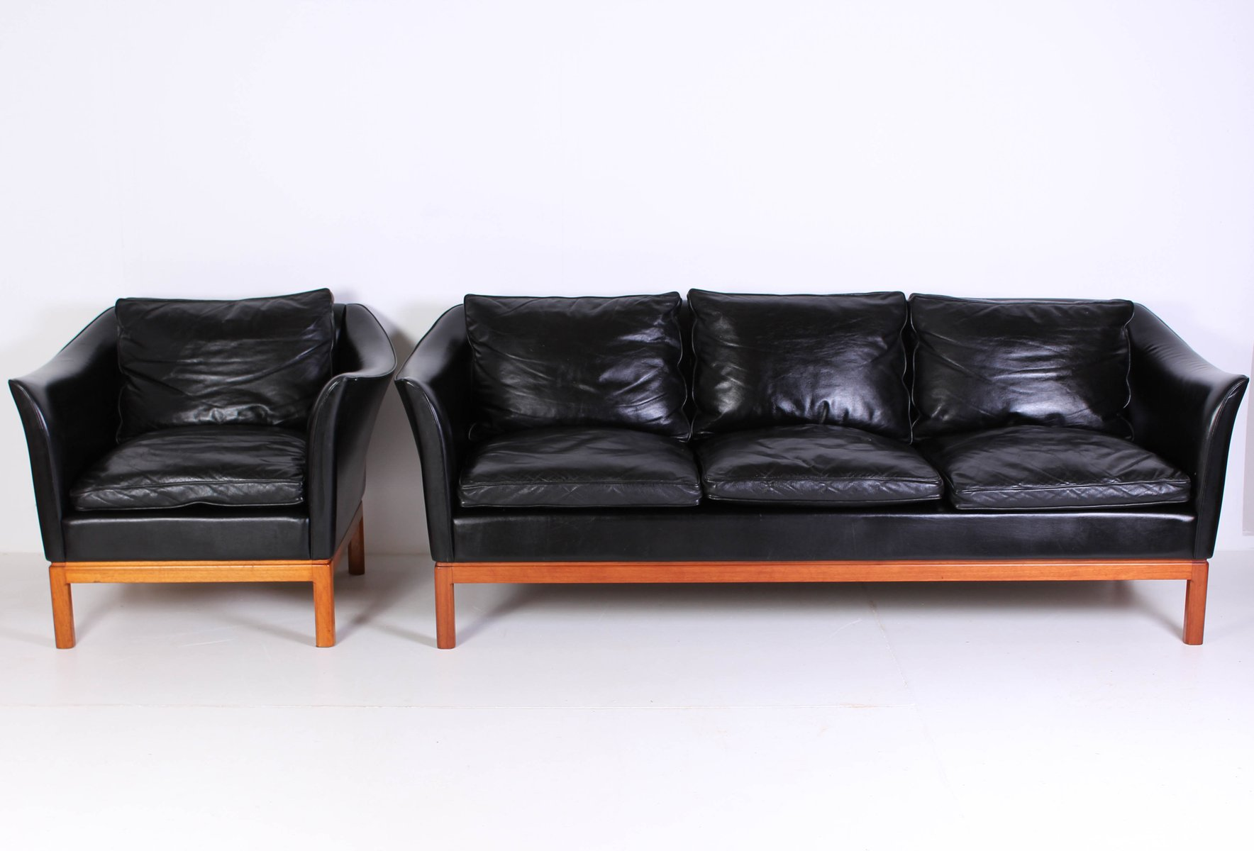 Dänisches Mid-Century Leder Sofa & Sessel