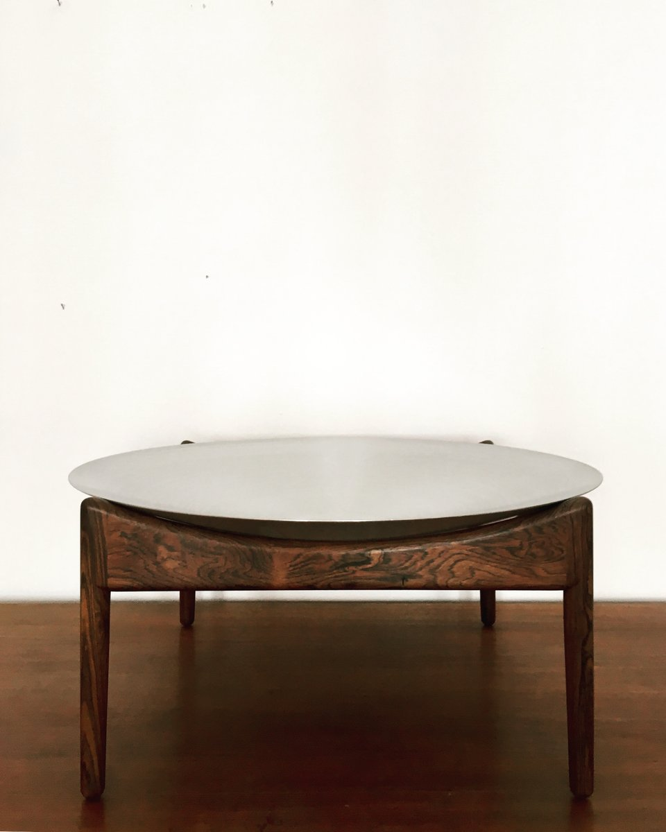Modus Rosewood Coffee Table With Aluminum Bowl By Kristian Solmer Vedel For  Søren Willadsen, 1960s