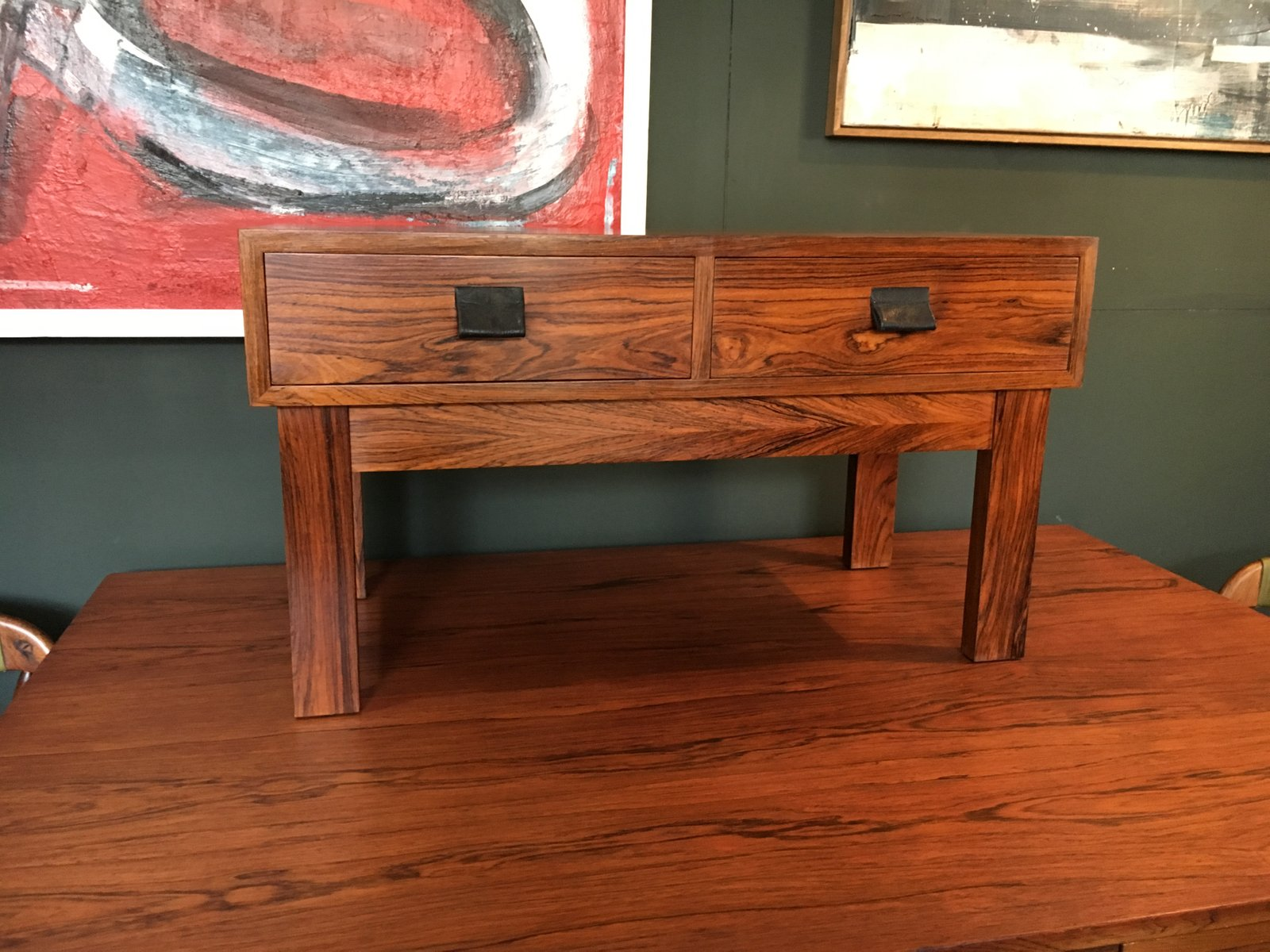 Danish Rosewood Low Side Table With Drawers 1960s