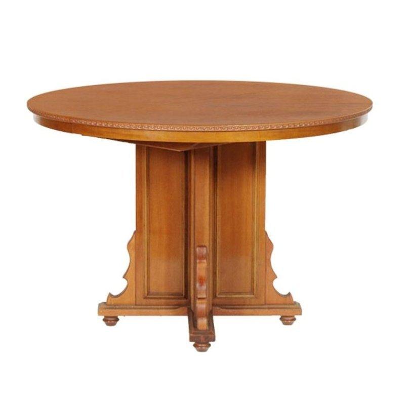 Italienischer ausziehbarer Nussholz & Furnier Tisch