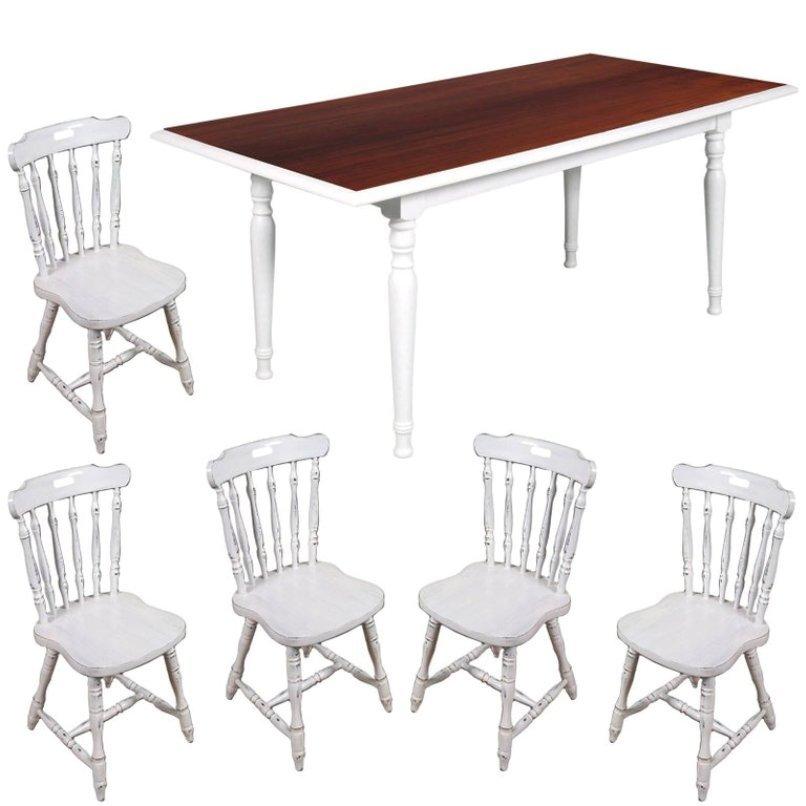 Italienischer weiß lackierter Mid-Century Tisch & 5 Esszimmerstühle