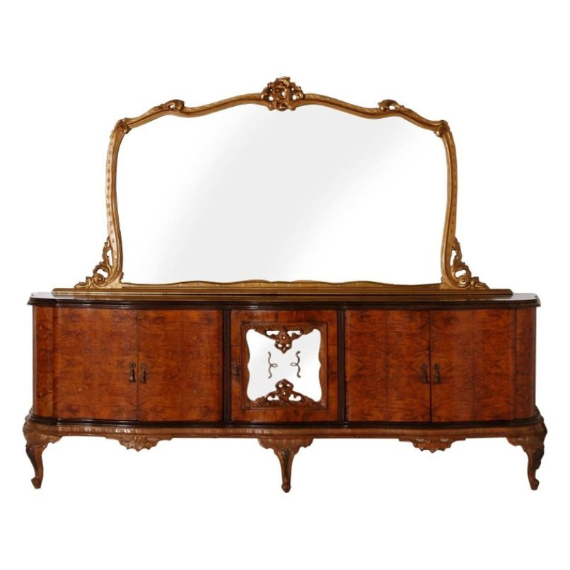 Large Chippendale Credenza With Dry Bar Golden Leaf Mirror