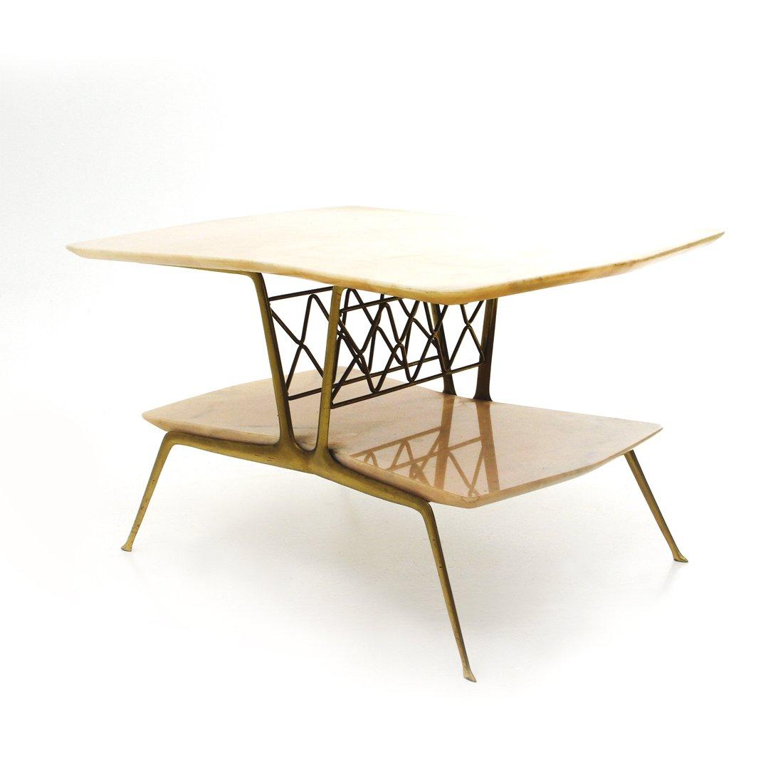 italienischer messing marmor couchtisch 1950er bei pamono kaufen. Black Bedroom Furniture Sets. Home Design Ideas