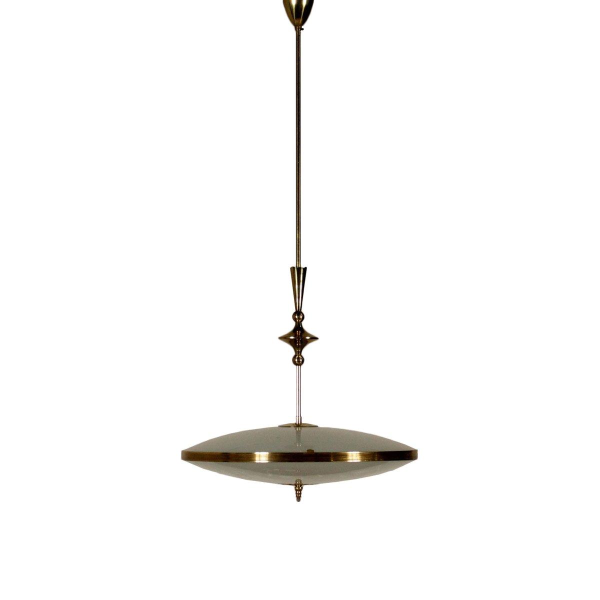 Italienische Messing & Decorated Glas Deckenlampe, 1950er