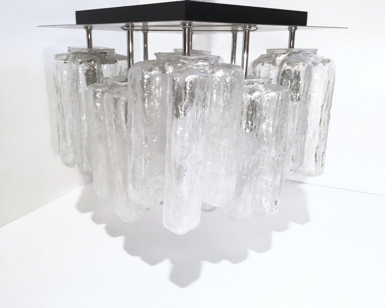 Granada Eisglas Deckenlampe von Kalmar, 1960er