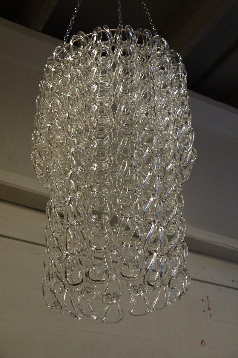 Große Vintage Kronleuchter Mit Glas Hooks